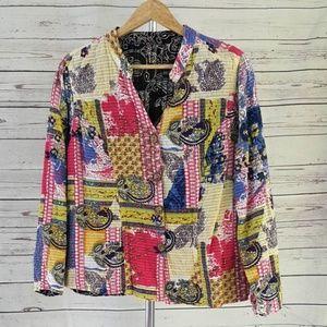 Patchwork paisley geo lightweight button jacket